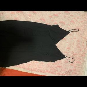 Short, v-neck, simple black dress